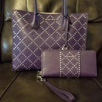 Michael Kors Large Purple Tote & Matching Zipper Wallet Photo