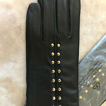 Michael Kors Leather Astor Studded Tech Gloves Size Small  Black/gold  Nwt 98 Photo