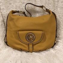 Michael Kors Leather Fulton Large Slouchy Hobo Shoulder Bag Euc Yellow Photo