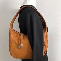 Michael Kors Leather Hobo Handbag Cognac Orange Color Photo