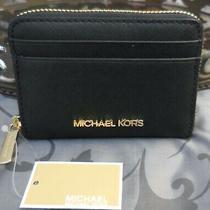 Michael Kors  Leather Medium Zip Around Card Case Walletblacknwt 148 Photo
