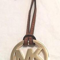 Michael Kors Leather/metal Handbag Charm Name Tag  Luggage/gold Nwot Photo