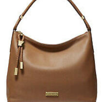 Michael Kors Lexington Leather Medium Shoulder Purse Luggage Gold 30t9gndl2l Photo