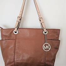 Michael Kors Light Brown Pebbled Leather Tote Shoulder Bag Excellent Photo