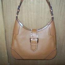 Michael Kors Lillian Leather Hobo Medium Bag Tan Luggage/gold Studs Nwt 298 Photo