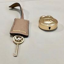 Michael Kors Logo Gold Large Lock & Key Handbag Charm Set  Gold/dark Khaki  Nwot Photo