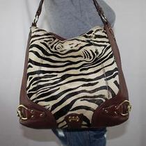 Michael Kors Lrg Zebra Brown Leather Shoulder Hobo Tote Satchel Slouch Purse Bag Photo