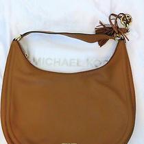 Michael Kors Lydia Brown Leather Hobo Large Shoulder Zippered Bag Purse Photo
