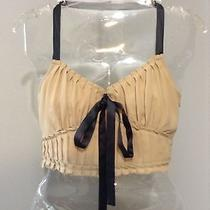 Michael Kors Made in Italy Sexy Blush Pleated Bralette Bustier Halter Crop Top 2 Photo