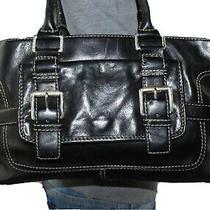 Michael Kors Med Lrg Black Leather Shoulder Hobo Tote Satchel Slouch Purse Bag Photo