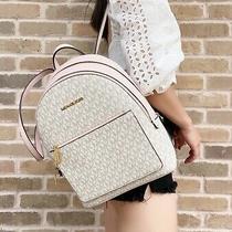 Michael Kors Medium Abbey Adina Backpack Leather Vanilla Mk Pink Powder Blush Photo