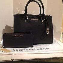 Michael Kors Medium Sutton Dressy Saffiano Leather Satchel & Wallet Set Black Photo