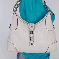 Michael Kors Medium White Leather Shoulder Hobo Tote Satchel Purse Bag Photo