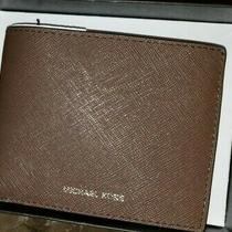 Michael Kors Men's Slim Billfold Wallet Mk Logo Java Dark Brown Leather 115 Nwt Photo