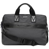 Michael Kors Mens Parker Commuter Large Laptop Briefcase Nylon Leather Gray M4 Photo