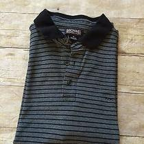 Michael Kors Mens Polo Shirt Blue Striped Luxury Sz M Luxury 31e Photo