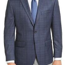Michael Kors Mens Sport Coat Blue Size 50 Long Two-Button Plaid Blazer 295 209 Photo