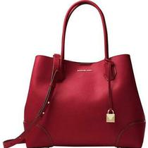 Michael Kors Mercer Gallery Large Leather Satchel - Maroon  Photo