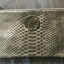 Michael Kors Metallic Gold Leather Clutch Purse Embossed Leather Wristlet Photo