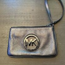 Michael Kors  Metallic Gold Mk Signature Phone Case  Wallet Clutch Photo