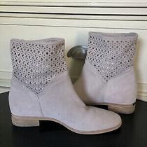 Michael Kors Mk Ankle Boots Blush/gray Suede Leather Silver Plate Photo
