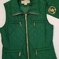 Michael Kors Mk Emerald Green Christmas Holiday Puffer Vest W/ Gold Trim Sz Sm Photo
