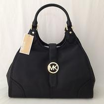 Michael Kors Mk Hudson Black Leather Shoulder Bag Tote Handbag Purse Nwt Photo