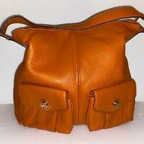 Michael Kors Mk Orange Leather Hobo Bag Photo