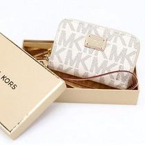 Michael Kors Mk Zip Wallet Wristlet Monogram White Bag Case for  Iphone 5 4  Photo