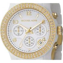 Michael Kors Mk5237 Ladies Watch Runway Ceramic Gold White Glitz Chronograph New Photo