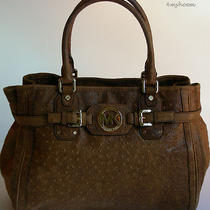 Michael Kors Mocha Hudson Ostrich Embossed Vintage Leather Satchel & Tote 448 Photo