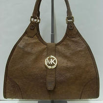 Michael Kors Mocha Hudson Vintage Ostrich Embossed Leather Shoulder Tote Handbag Photo