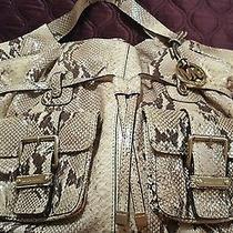 Michael Kors Natural Desert Large Shoulder Tote Leather Python Purse Bag Snake Photo
