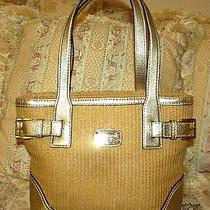 Michael Kors Natural Soft Woven Straw Satchel/metallic Gold Leather Handles/trim Photo