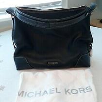 Michael Kors Navy Blue Leather Satchel Handbag New Purse Photo