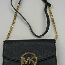 Michael Kors Navy Hudson Pebbled Leather Lg Phone Crossbody Wallet Used Photo