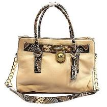 Michael Kors New Beige Blush Python Women's Satchel Leather Bag Purse 348- Photo