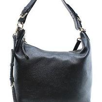 Michael Kors New Black Gold Lupita Convertible Hobo Leather Bag 298- 049 Photo