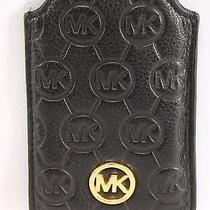 Michael Kors New Black Leather Embossed Signature Slip Iphone Case Cover 78- Photo