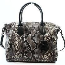 Michael Kors New Black Python Embossed Leather Campbell Satchel Bag Purse 448 Photo