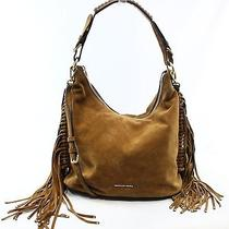 Michael Kors New Brown Dark Caramel Billy Fringe Hobo Suede Purse Bag 378- 051 Photo