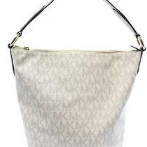 Michael Kors New Ivory Pvc Monogram Elana Hobo Shoulder Bag Purse 378- 049 Photo