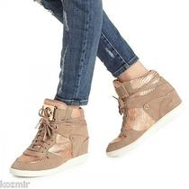 Michael Kors Nikko Wedge Sneakers Dune Rose Gold Snake High Top Heels Nwob 10 Photo