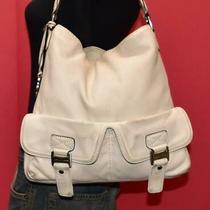 Michael Kors Off White Leather Ranger Buckle Lrg Shoulder Pocket Hobo Purse Bag Photo