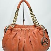 Michael Kors Orange Small Leather Pleated Chain Strap Mini Satchel Shoulder Bag  Photo