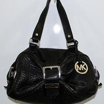 Michael Kors Pebble Leather Buckle Black Hobo Bag Satchel Purse Great Condition Photo