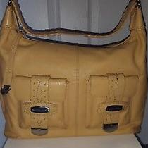 Michael Kors Pebbled Leather 2 Front Pocket Hobo With Silver Hardware Chamois Photo