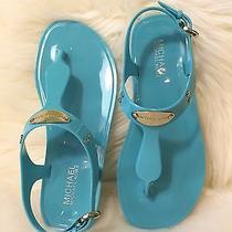 Michael Kors Plate Jelly Sandals Size 7m Aquamarine Photo