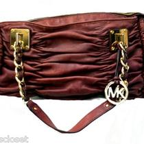 Michael Kors Plum Slouched Leather Hobo Handbag W/ Gold Hardware Photo