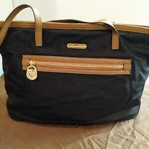Michael Kors Pre Owned Navy Blue Nylon Large Tote Bag Gold Logo. Sold as Is Photo